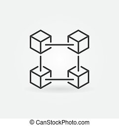 Blockchain technology outline vector icon
