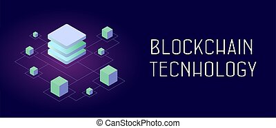 Blockchain technology - P2P distributed ledger technology (DLT), smart block chain decentralized secure storage. Abstract isometric blocks connected to each other by one line. Header and footer banner