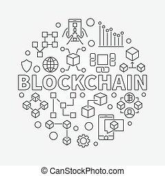 Blockchain technology round vector illustration