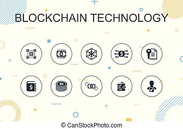 blockchain technology trendy Infographic template. Thin line...