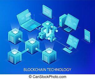 Blockchain technology vector illustration