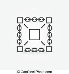 Blockchain technology vector minimal icon