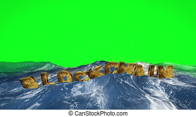 Blockchain text floating in the water against green screen