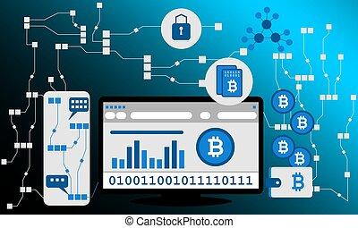 Blockchain vector background illustration. - Blockchain...