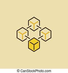 Blockchain vector colorful icon made with four cubes