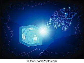 blockchain, vector., concept, technologie