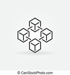 Blockchain vector icon made with 4 outline cubes