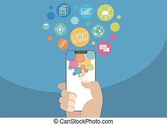 Blockchain vector illustration with icons. Hand holding modern bezel-free / frameless smartphone on blue background