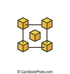 Blockchain vector yellow creative icon on white background