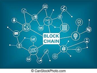 blockchain, vetorial, palavra, ilustração, ícones