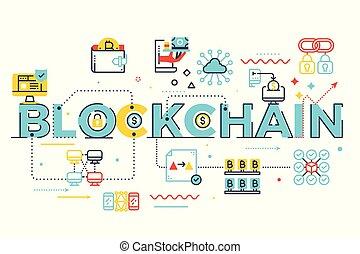 Blockchain word lettering illustration