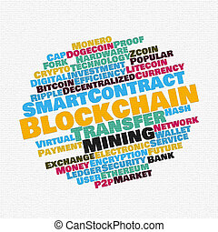 Blockchain wordcloud concept