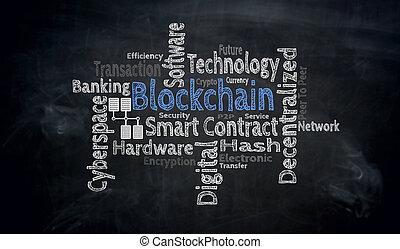 blockchain, wordcloud, képben látható, tábla, fogalom