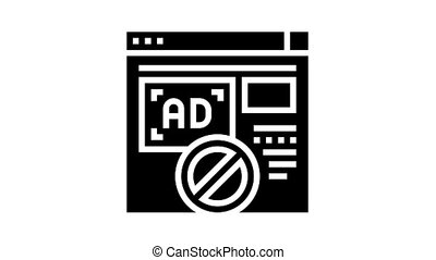 blocked ads web site animated glyph icon. blocked ads web site sign. isolated on white background