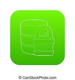 Blocked database icon green