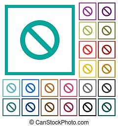 Blocked flat color icons with quadrant frames on white...