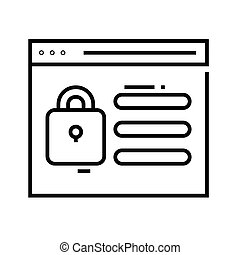 Blocked programm line icon, concept sign, outline vector ...