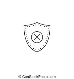 Blocked security shield vector icon isolated on white background