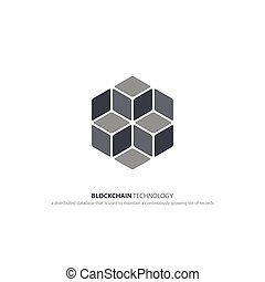 blocks - blockchain technology icon. vector smart contract...