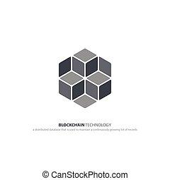 blocks - blockchain technology icon. vector smart contract...