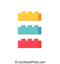 Blocks construction toys vector illustration, flat cartoon plastic color building blocks or bricks toy isolated
