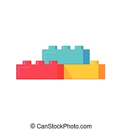 Blocks constructor toys vector illustration, flat cartoon plastic building blocks construction or bricks toy isolated