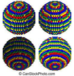 Blocks creating a sphere - blocks creating a colorful sphere...