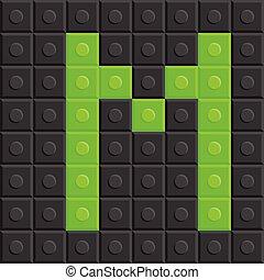 Blocks in english capital letter M, alphabet set