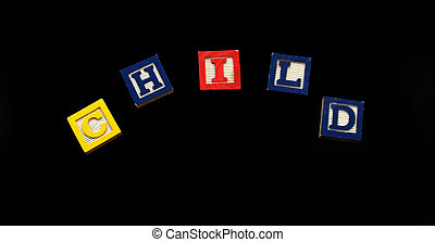 Blocks Letters Spell Child on Magnetic Board