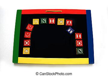 Blocks Letters Spell Communication on Magnetic Board