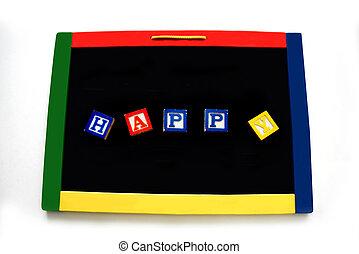 Blocks Letters Spell Happy on Magnetic Board