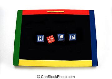 Blocks Letters Spell Help on Magnetic Board