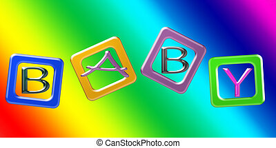 Blocks of color against a vibrant rainbow background. Letters spell the word BABY