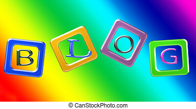 Blocks of color against a vibrant rainbow background. Letters spell the word BLOG