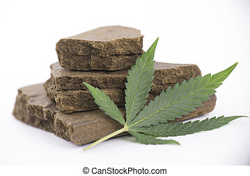 Blocks of hashish, a medical marijuana concentrate isolated...
