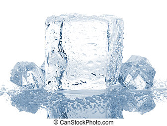 blocks of ice with water drops
