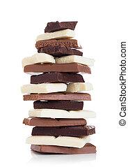 Blocks of white, milk and dark organic chocolate