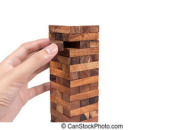 Blocks of wood and hand isolated on white background,