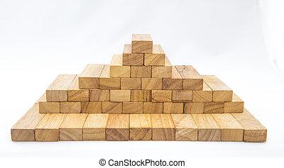 Blocks of wood isolated on white background