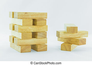 Blocks of wood isolated on white background