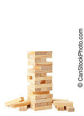 Blocks of wood isolated on white background. Tower