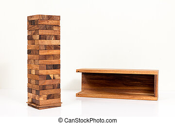 Blocks of wood isolated on white background,Strategy game as a business plan.