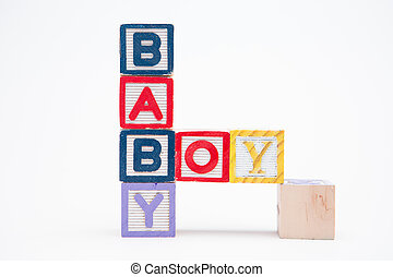 Blocks spelling baby boy