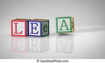 "Blocks Spelling ""LEARNING"""