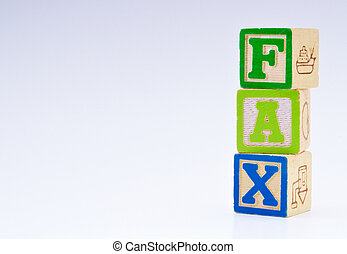 Blocks that spell Fax with copy space