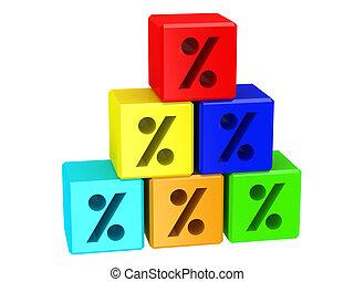 blocks, with, знак, of, процент