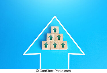 Blocks with unidirectional arrows united in a single move arrow. Directing all efforts and resources to achieve the goal and solve an urgent problem. Mobilization efforts. Consolidation. Organization