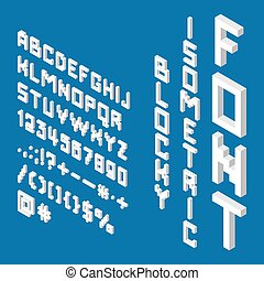 Blocky isometric white font. 3D English alphabet, letters, numbers, punctuation, mathematical marks and symbols. Flat design. EPS 8 vector illustration, no transparency, no gradients
