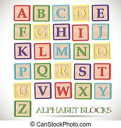 bloco alfabeto, ilustração