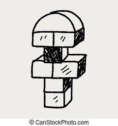 bloco, brinquedo, doodle
